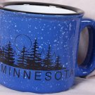 Minnesota Large Ceramic Blue Faux Graniteware Mug, Black Letters and Forest Silhouette