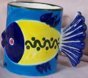 Ceramic Fish Coffee Mug - Cancun, Mexico souvenir, Blue Yellow, Fish tail handle, Bright and Fun