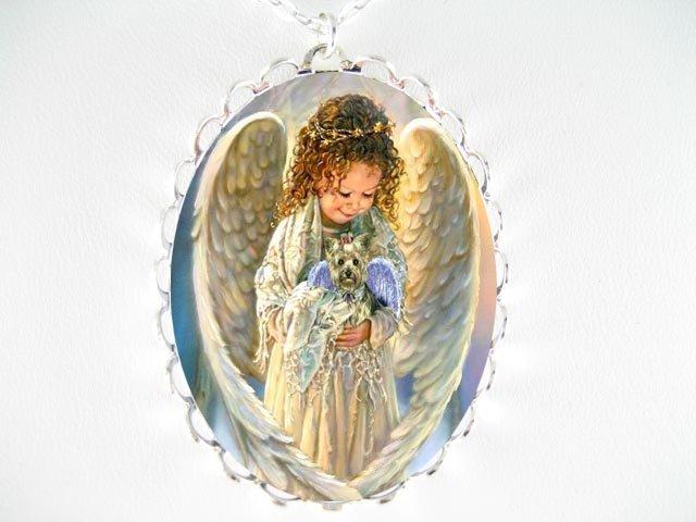 ANGEL YORKSHIRE TERRIER DOG CAMEO PORCELAIN NECKLACE