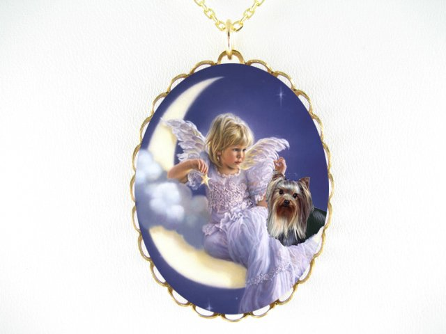 ANGEL MOON YORKSHIRE TERRIER CAMEO PORCELAIN NECKLACE