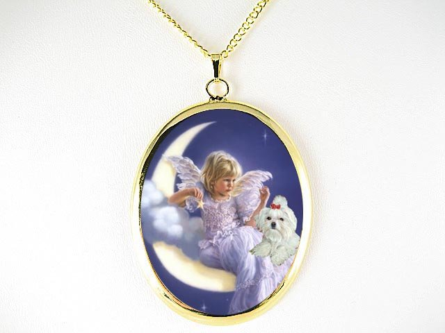 ANGEL MOON  FAIRY MALTESE DOG CAMEO PORCELAIN NECKLACE