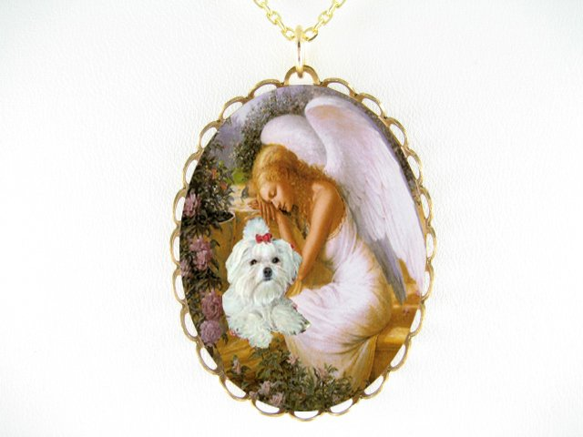SLEEP ANGEL ROSE MALTESE DOG PORCELAIN CAMEO NECKLACE