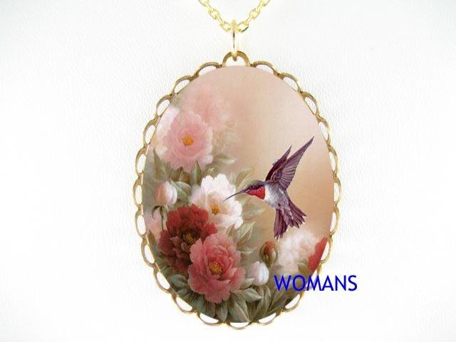 RUBY HUMMINGBIRD BLOSSOM PEONY PORCELAIN CAMEO NECKLACE