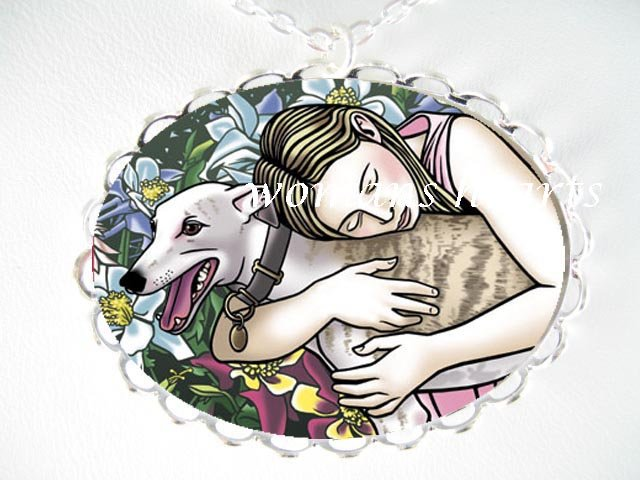 GIRL HUGGING GREYHOUND  CAMEO PORCELAIN PENDT NECKLACE