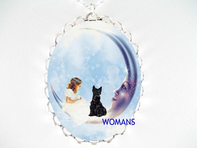 ANGEL MOON SCOTTISH TERRIER CAMEO PORCELAIN NECKLACE