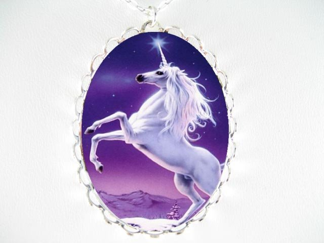 PURPLE UNICORN HORSE STAR PORCELAIN CAMEO NECKLACE