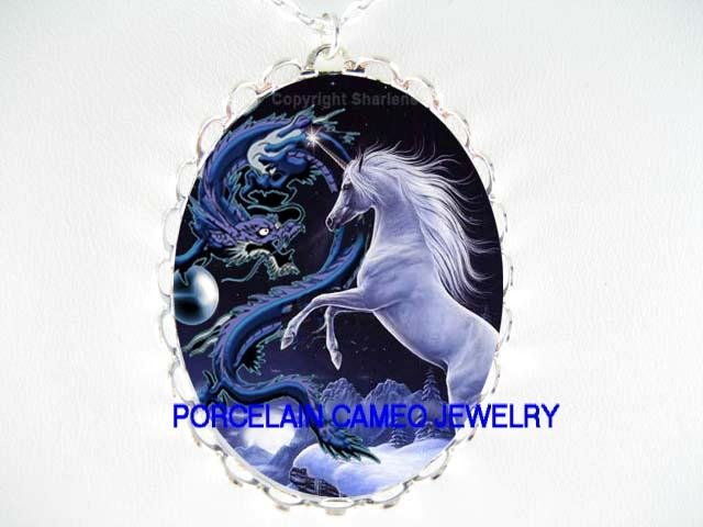 BLUE UNICORN HORSE WITH DRAGON PORCELAIN CAMEO NECKLACE