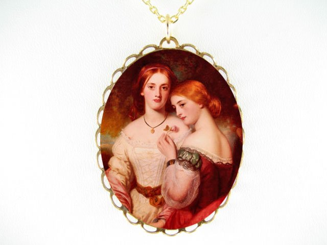 QUEEN VICTORIA WITH HER SISTER* CAMEO PORCELAIN NECKLACE