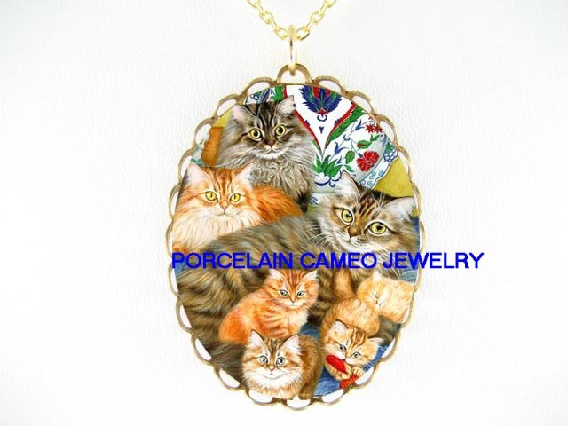 6 MAINE COON CAT FAMILY PORCELAIN CAMEO NECKLACE
