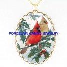 2 CHRISTMAS CARDINAL BIRD HOLLY BERRY CAMEO NECKLACE