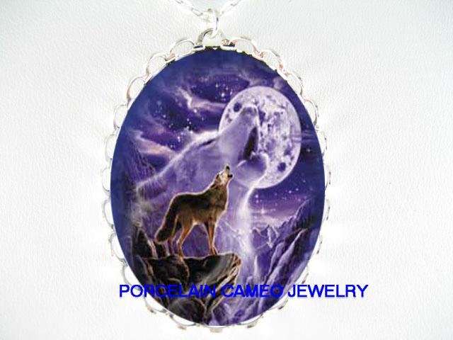 PURPLE WOLF HOWLING MOUNTAIN CAMEO PORCELAIN NECKLACE