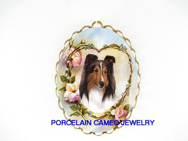 SHELTIE SHEEPDOG DOG ROSE PORCELAIN PIN PENDANT BROOCH