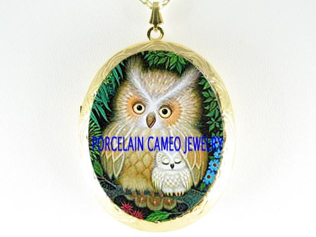 HORNED OWL MOM CUDDLING BABY PORCELAIN CAMEO LOCKET NK