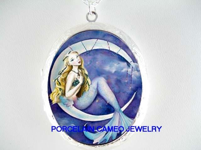 MERMAID ON THE MOON PORCELAIN CAMEO LOCKET NECKLACE