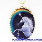 BLUE UNICORN HORSE RAINBOW PORCELAIN CAMEO NECKLACE