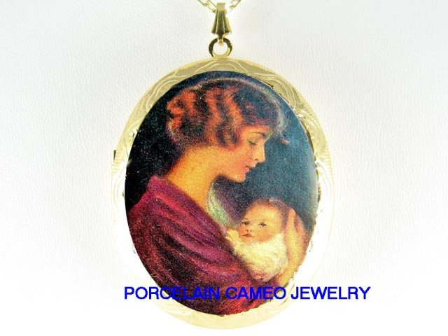 MOTHER HOLDING BABY CAMEO PORCELAIN LOCKET NECKLACE