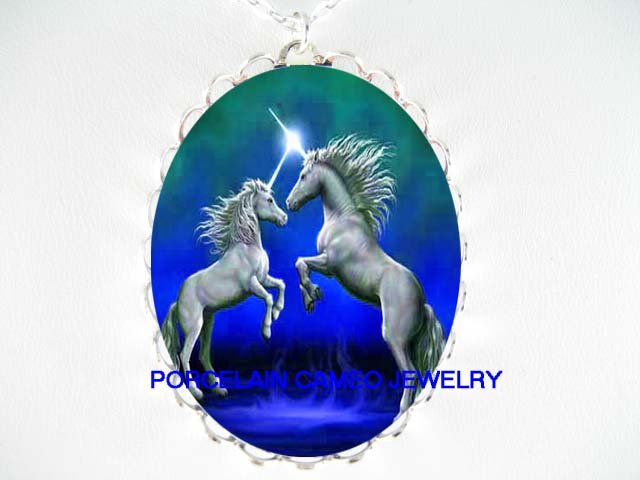 2 BLUE UNICORN HORSE PORCELAIN CAMEO PENDANT NECKLACE