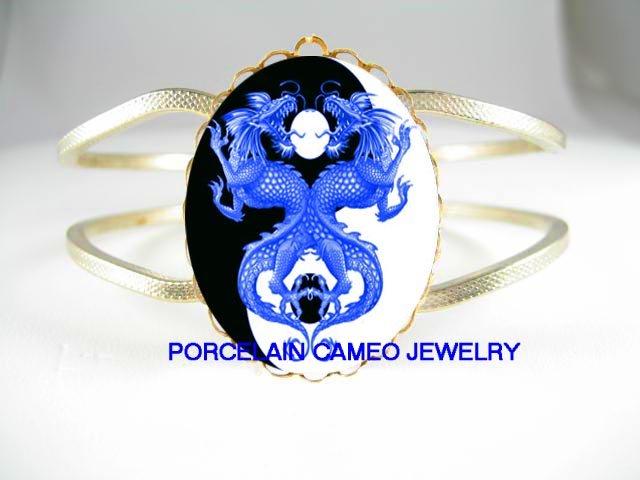 2 BLUE DRAGON YIN YANG CAMEO PORCELAIN HINGE BRACELET