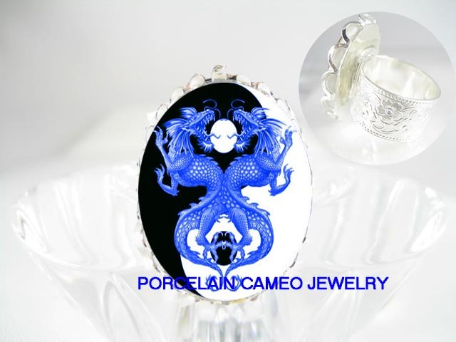 2 BLUE DRAGON YIN YANG CAMEO PORCELAIN ADJ RING 5-9