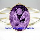 2 PURPLE UNICORN HORSE* CAMEO PORCELAIN VINTAGE HINGED BANGLE BRACELET