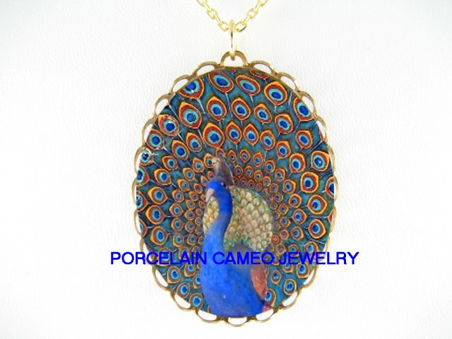 RARE MOSAIC PEACOCK BIRD PORCELAIN CAMEO NECKLACE