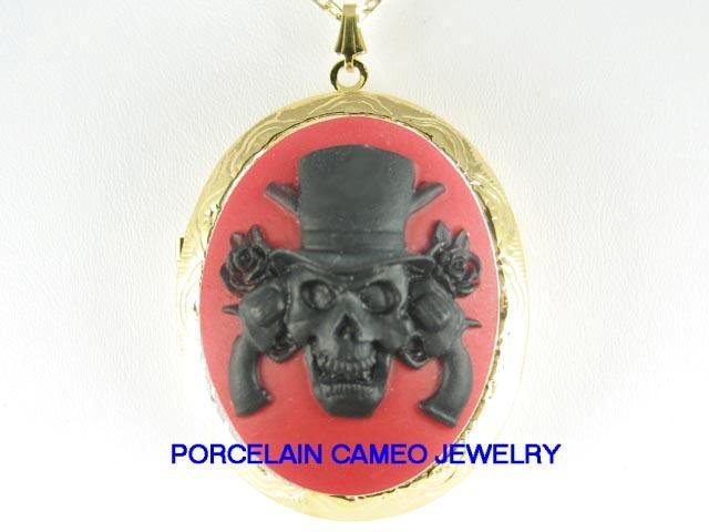 3D BACK RED PIRATE SKULL ROSE CAMEO LOCKET NECKLACE
