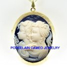 BLACK 2 TWIN SISTERS BEST FRIENDS CAMEO LOCKET NECKLACE