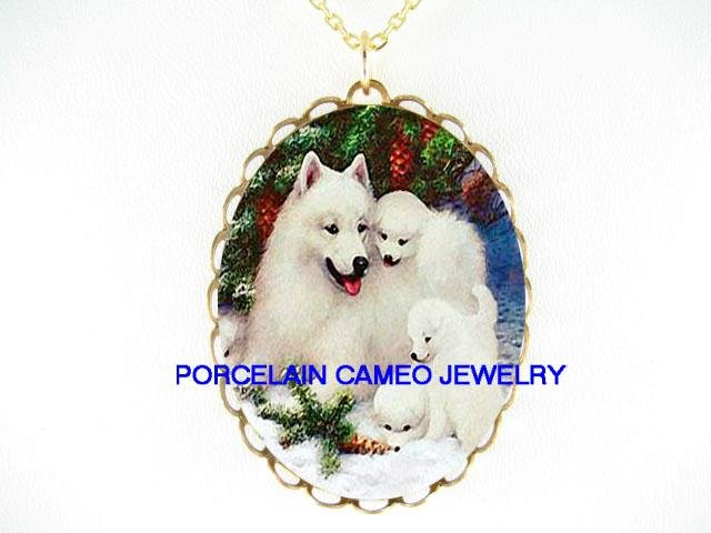 4 SAMOYED DOG MOM PUPPY SNOW CAMEO PORCELAIN NECKALCE