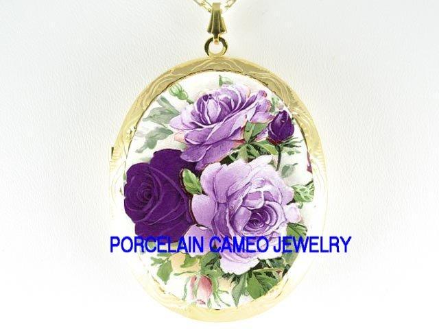 LAVENDER PURPLE ENGLISH ROSE  *  CAMEO PORCELAIN LOCKET NECKLACE