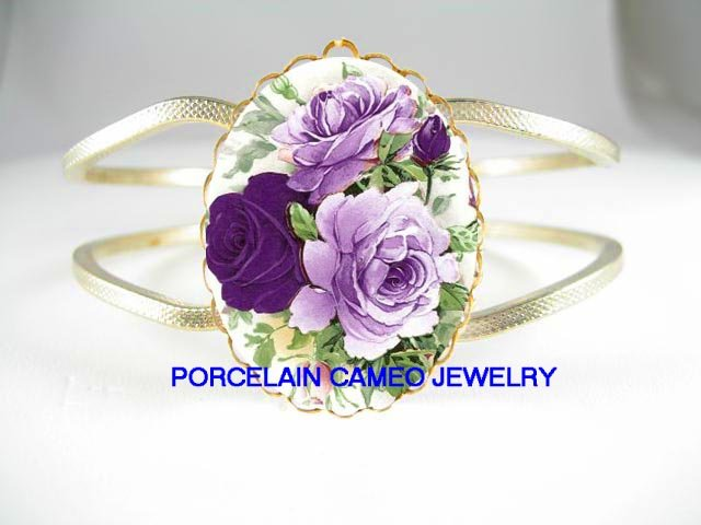 LAVENDER PURPLE ENGLISH ROSE* CAMEO PORCELAIN VINTAGE HINGED BANGLE BRACELET