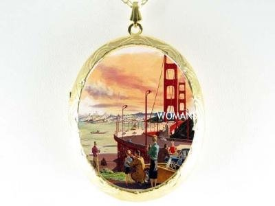 GOLDEN GATE BRIDGE PORCELAIN CAMEO LOCKET NECKLACE