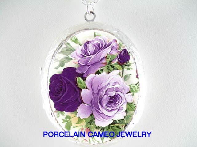 LAVENDER PURPLE ENGLISH ROSE  *  CAMEO PORCELAIN LOCKET NECKLACE