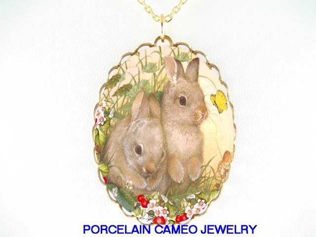 2 RABBIT BUNNY IN STRAWBERRY FILED BUTTERFLY* CAMEO PORCELAIN NECKLACE
