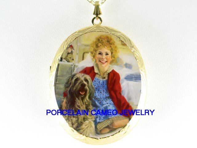 LITTLE ORPHAN ANNIE DOG PORCELAIN CAMEO LOCKET NECKLACE