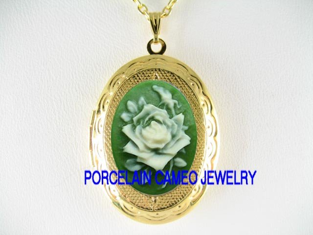 3D IRISH GREEN ROSE CAMEO LOCKET NECKLACE 13X18MM