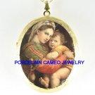 VIRGIN MARY HOLD BABY JESUS CAMEO PORCELAIN LOCKET NK