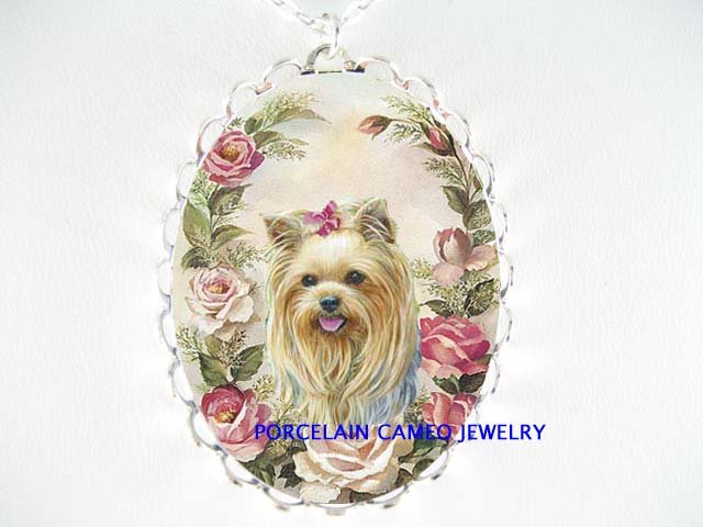 YORKSHIRE TERRIER DOG ROSE PORCELAIN CAMEO NECKLACE