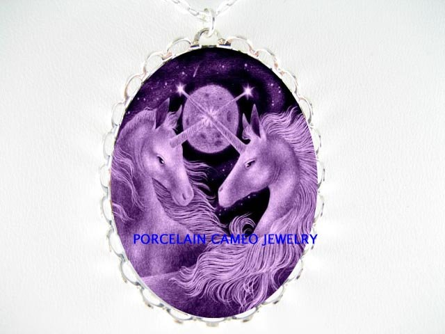 2 PURPLE UNICORN HORSE PORCELAIN CAMEO PENDANT NECKLACE