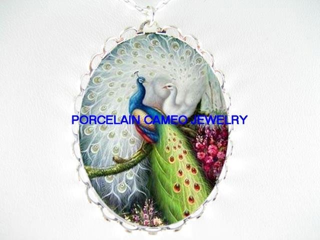 2 BLUE WHITE LOVING PEACOCK CAMEO PORCELAIN NECKLACE