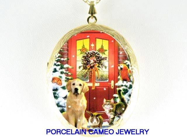 CHRISTMAS LAB DOG CAT RABBIT HAMSTER PARROT LOCKET NK