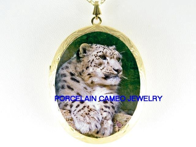 SNOW LEOPARD RESTING CAMEO PORCELAIN LOCKET NECKLACE