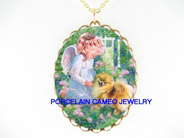 ANGEL COMFORT POMERANIAN DOG CAMEO PORCELAIN NECKLACE