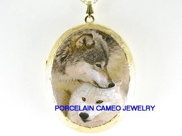 2 CUDDLING GREY WOLF POERCELAIN CAMEO LOCKET NECKLACE