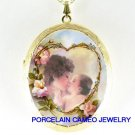 MOTHER KISS BABY CHILD ROSE HEART CAMEO LOCKET NECKLACE