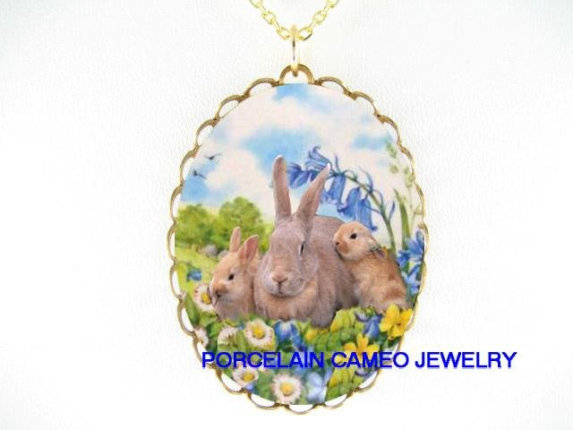 3 PALOMINO RABBIT BUNNY FAMILY PORCELAIN CAMEO NECKLACE