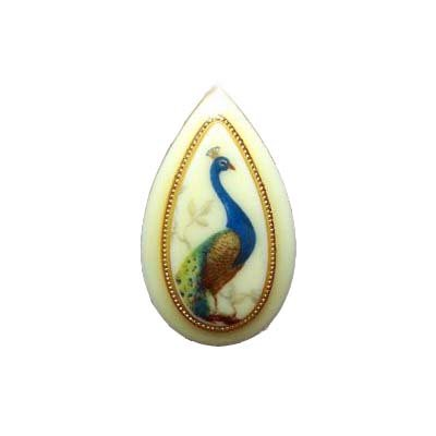 VINTAGE 60'S PEACOCK BIRD TEARDROP CAMEO ADJ RING 5-9