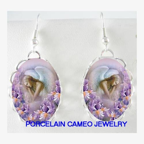 SLEEPING ANGEL PURPLE IRIS PORCELAIN CAMEO EARRINGS