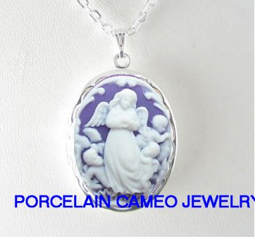 PURPLE ROCOCO GUARDIAN ANGEL CHERUB CAMEO LOCKET NK