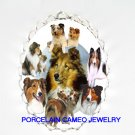 2 KISSING SHELTIE DOG COLLAGE PORCELAIN CAMEO PIN PENDANT