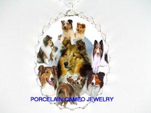 2 KISSING SHELTIE DOG COLLAGE PORCELAIN CAMEO NECKLACE
